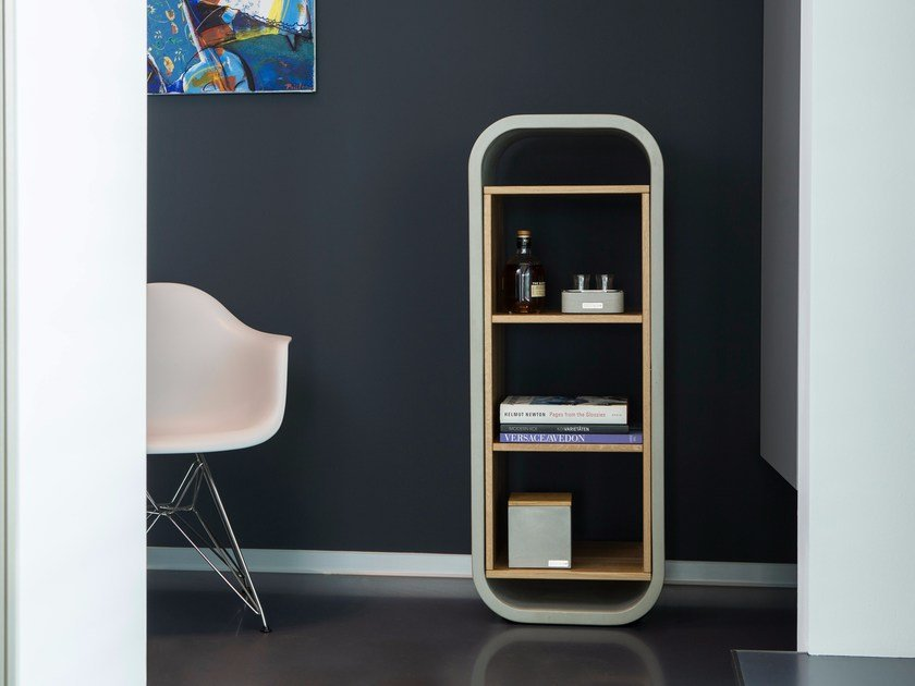 Concrete and oak bookcase OPUS PATEO MAGNO by CO33