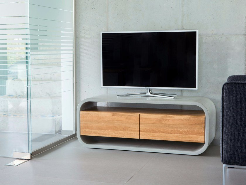 Concrete Sideboard / TV-Stand with wood insert OPUS VIDERO LIGNUM by CO33