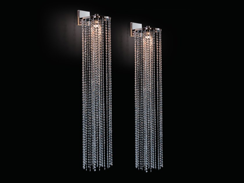 Metal wall lamp with crystals OPUS W1 by ILFARI