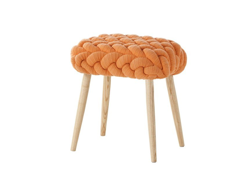 Upholstered wool stool ORANGE KNITTED STOOL by GAN