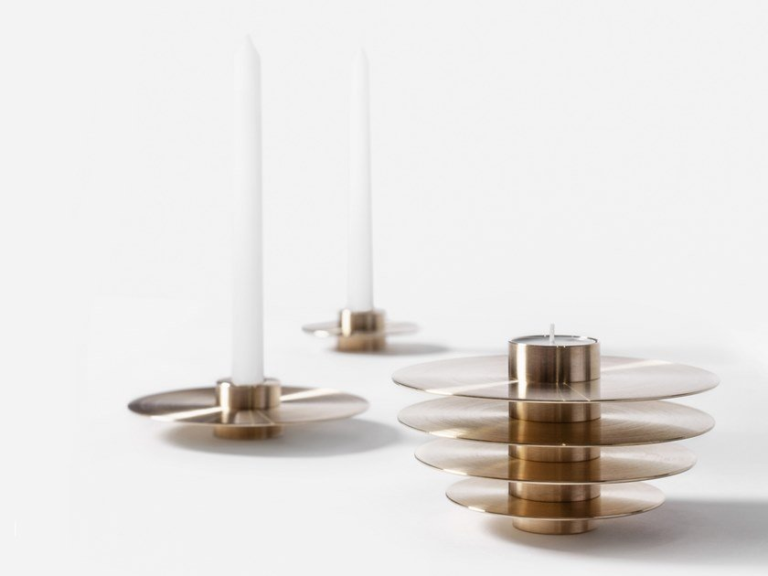 Set of 7 brass candle holders ORB CS1 | Brass candle holder by NOOM