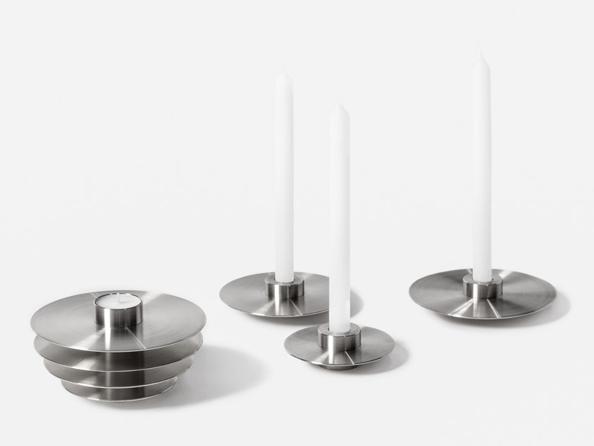 Set of 7 stainless steel candle holders ORB CS2   Stainless steel candle holder by NOOM