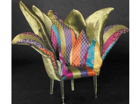 Upholstered fabric armchair with armrests ORCHIDEA by Mirabili