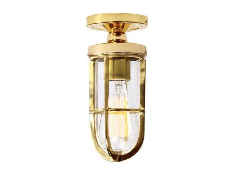 Direct light handmade ceiling light OREGON A CAGE WELL GLASS LIGHT FITTING by Mullan Lighting