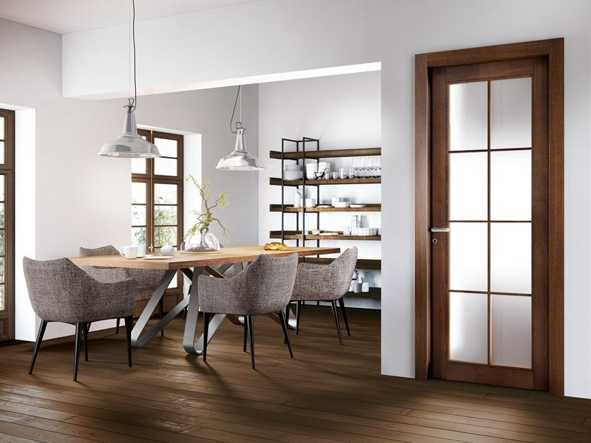 Hinged wood and glass door ORION 36T1 ROVERE MOKA by GD DORIGO