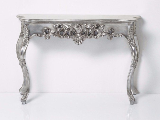Lacquered wooden console table ORNAMENT SILVER ANTIQUE by KARE-DESIGN
