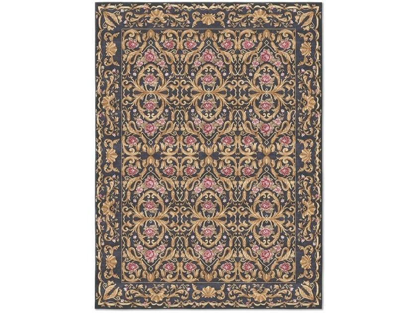 Handmade rectangular rug ORNAMENTAL INDIGO VELVET by Tapis Rouge
