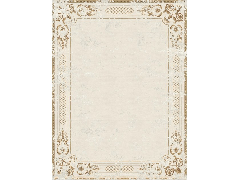 Handmade rectangular rug ORNATE STUCCO ANTIQUE WHITE by Tapis Rouge