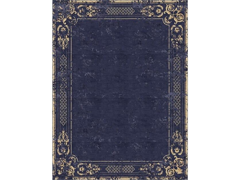 Handmade rectangular rug ORNATE STUCCO DEEP BLUE by Tapis Rouge