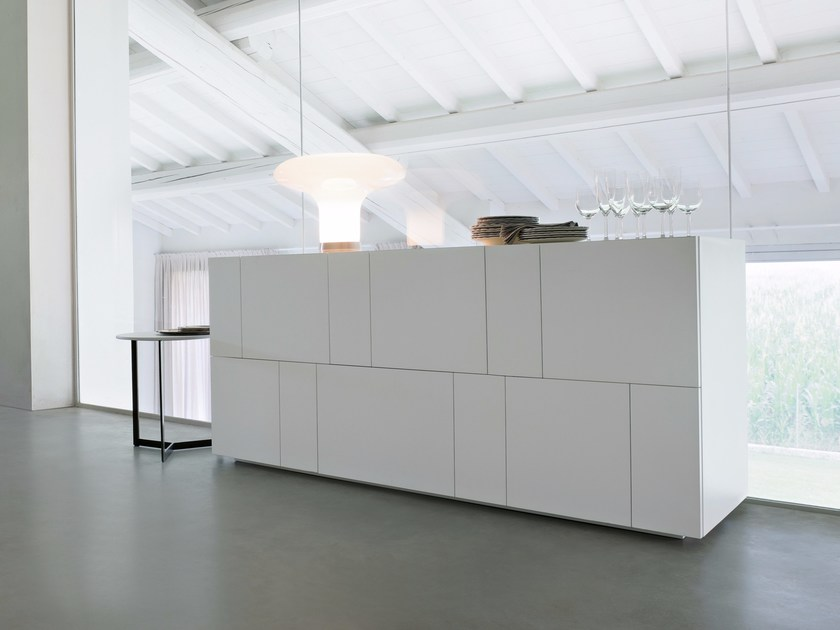 Lacquered sideboard with doors with drawers ORTELIA by Lema