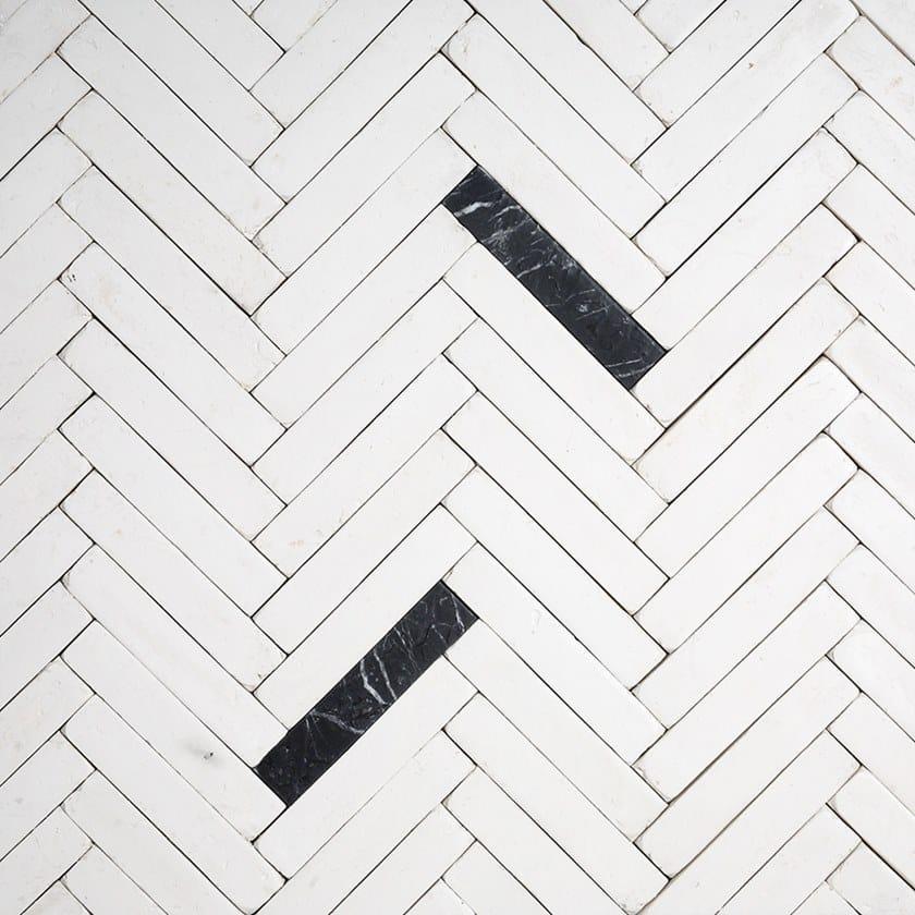 ORVINIO Variante in pasta bianca di caolino e inserto in nero marquinia