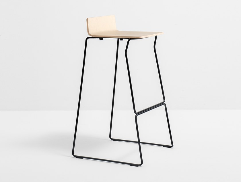 Sled base barstool with footrest OSAKA METAL 5717 by Pedrali