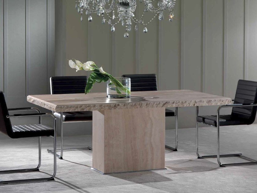 Travertine table OSCAR by International Marmi