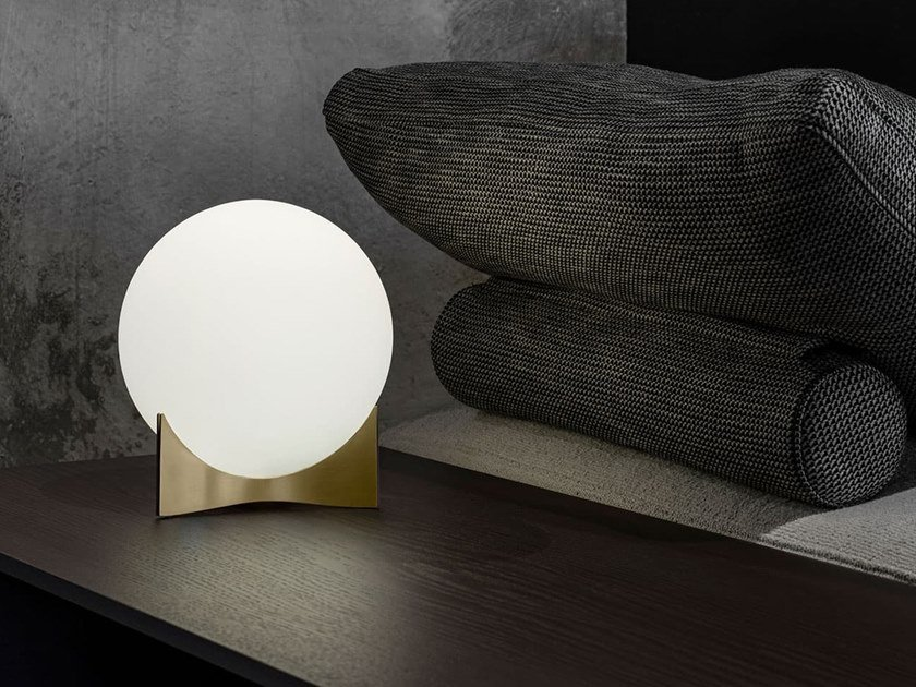 LED glass and brass table lamp OSCAR by TERZANI