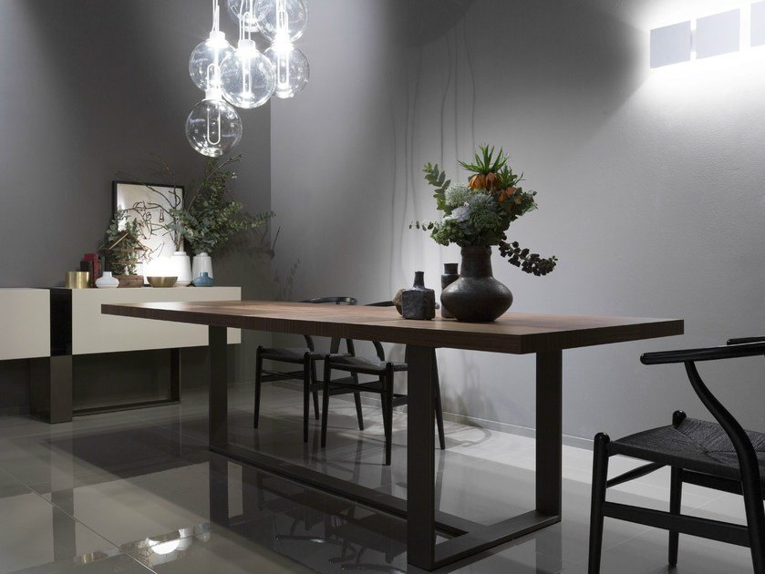 Lacquered rectangular walnut dining table OSCAR by EmmeBi