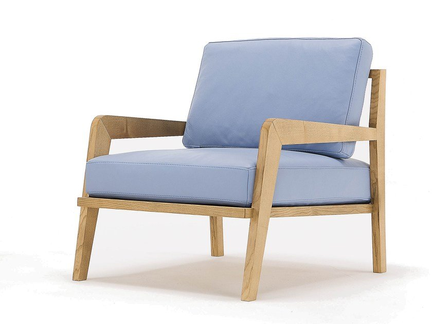 Upholstered leather armchair with armrests OSLO by Egoitaliano