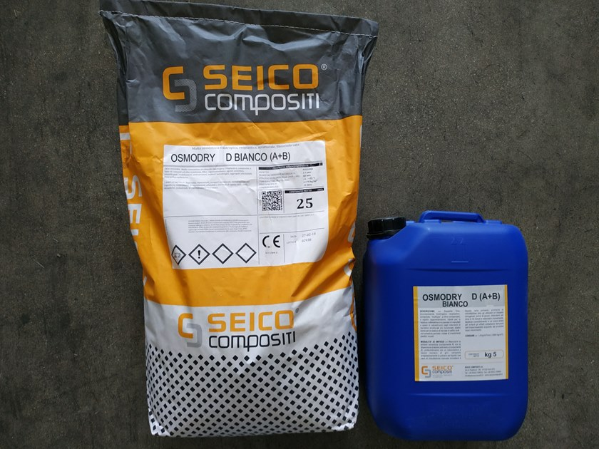 Cement-based waterproofing coating OSMODRY D BIANCO (A+B)® by Seico Compositi