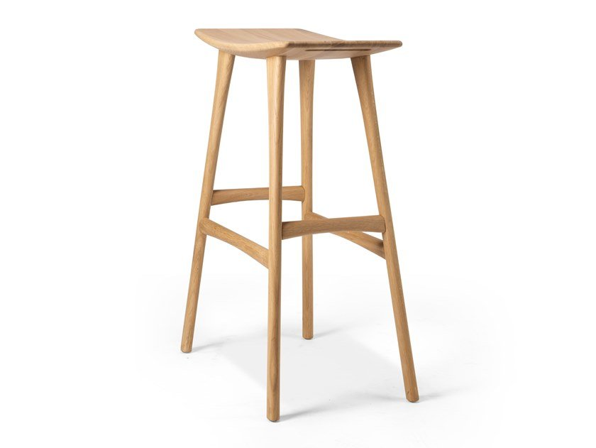 High teak stool with footrest OSSO by Ethnicraft