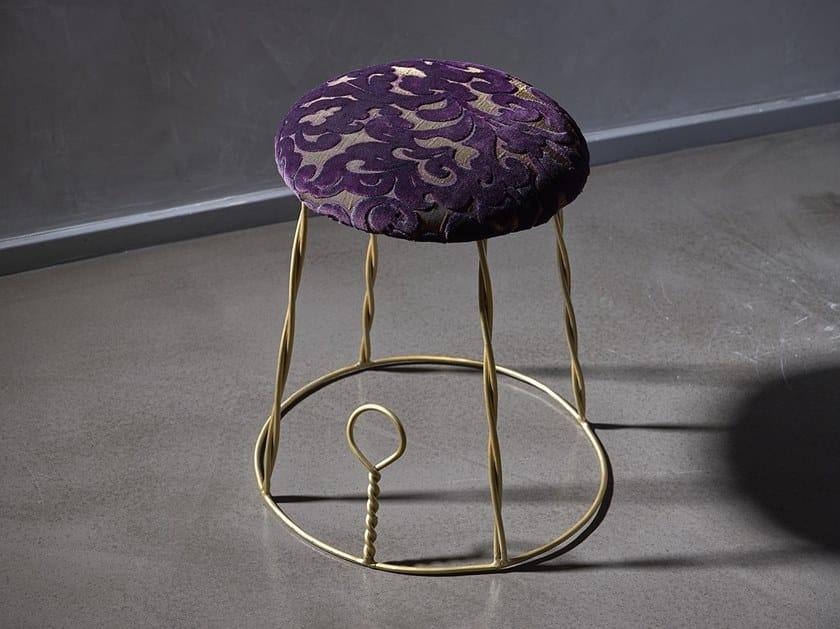 Brushed steel stool with integrated cushion OTELLO by IndakoLab