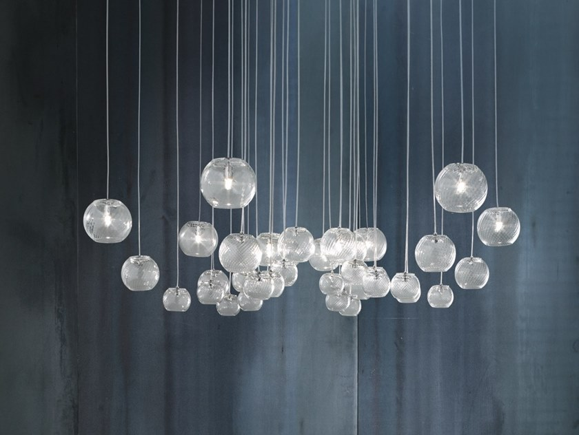 Lámpara colgante de vidrio soplado OTO SP CHA by Vetreria Vistosi