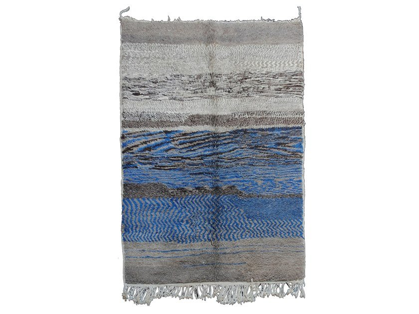 Long pile rectangular wool rug OULMES TAA120BE by AFOLKI