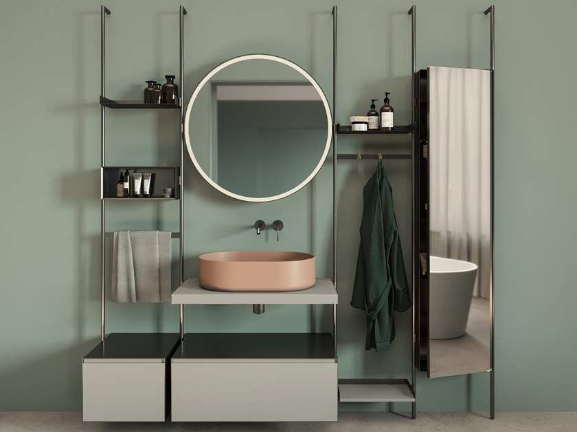 Mobile lavabo con specchio OVER by Nic