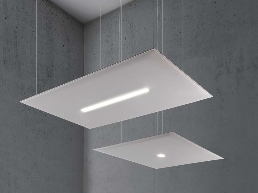 Fabric hanging acoustic panel with Integrated Lighting OVERSIZE LUX by Caimi Brevetti