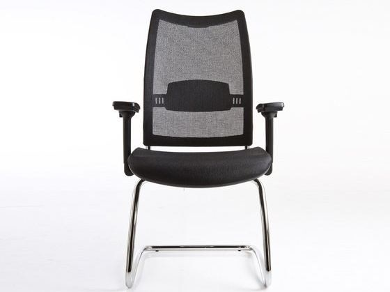 Cantilever mesh reception chair with armrests OVERTIME | Cantilever chair by Luxy