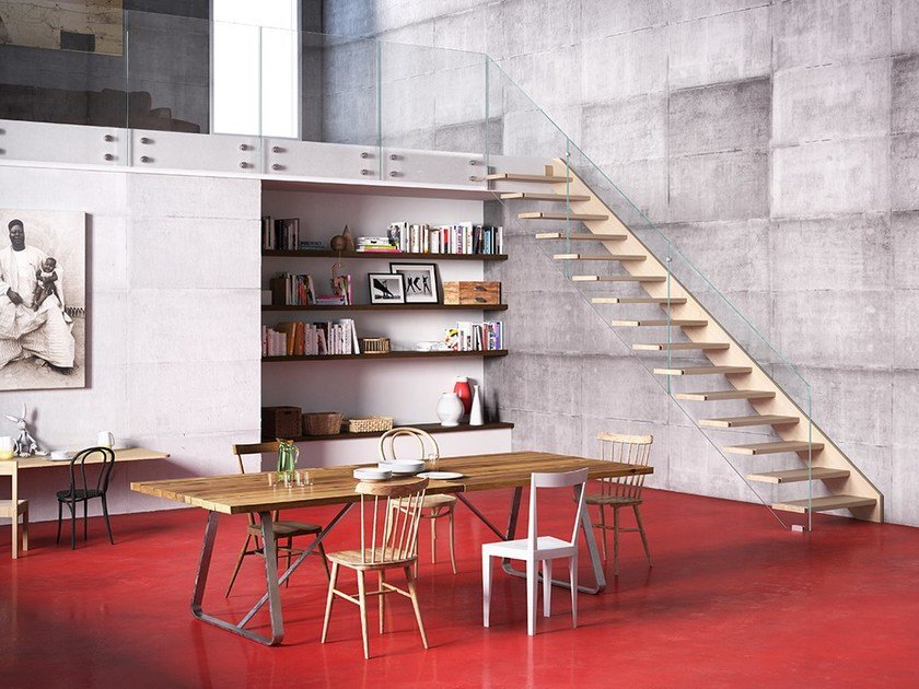 Solid wood Open staircase OXA AIR by Fontanot