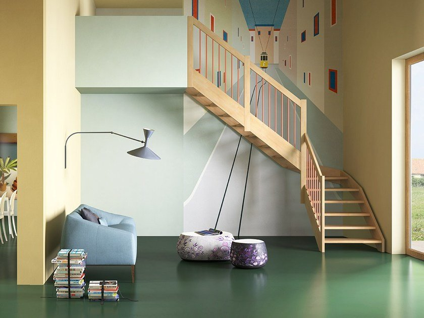 L-shaped U-shaped self supporting wooden cantilevered staircase OXA LIGHT by Fontanot