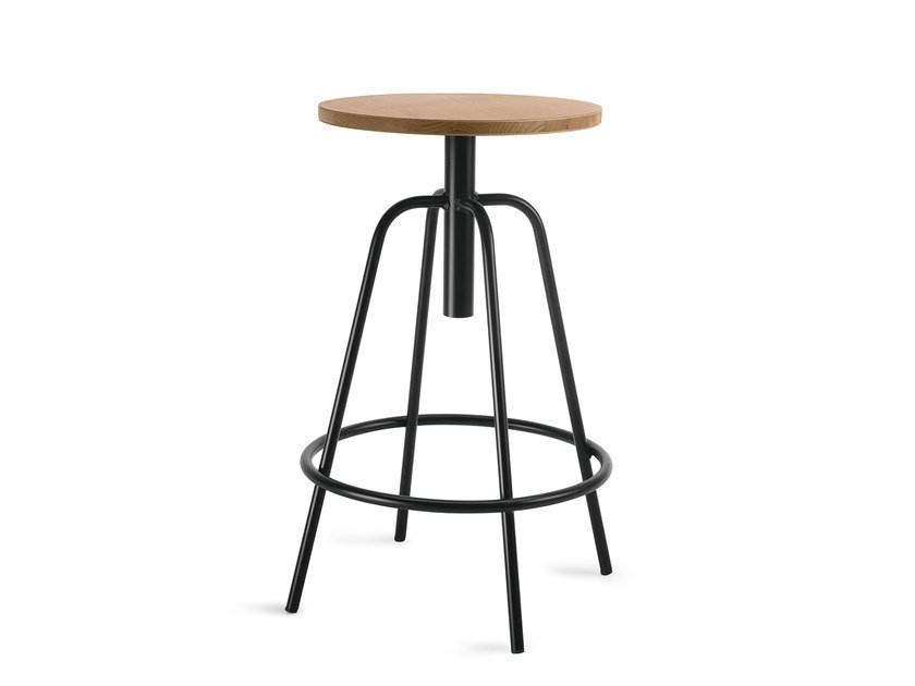 High height-adjustable painted metal stool with footrest OXFORD by Febal Casa