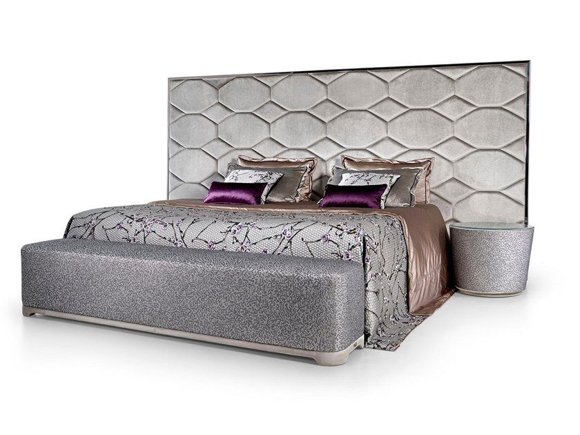 Fabric bed double bed with upholstered headboard OYSTER HOLLYWOOD by Sicis
