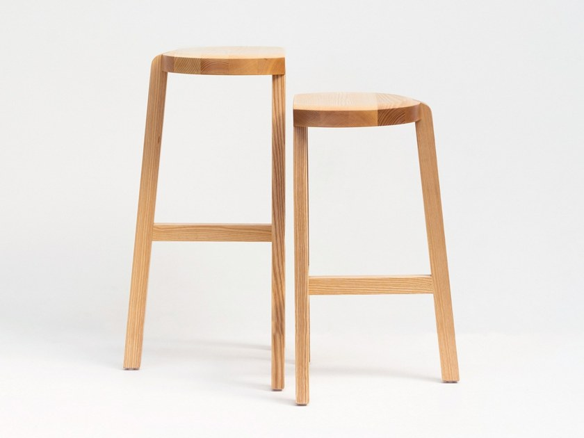 High wooden stool with footrest OYSTER | High stool by UTIL