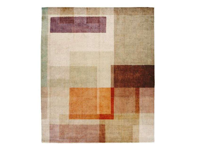 Handmade rectangular silk rug P01 ALONE WITH YOU (SODA BAR EDIT) by HENZEL STUDIO