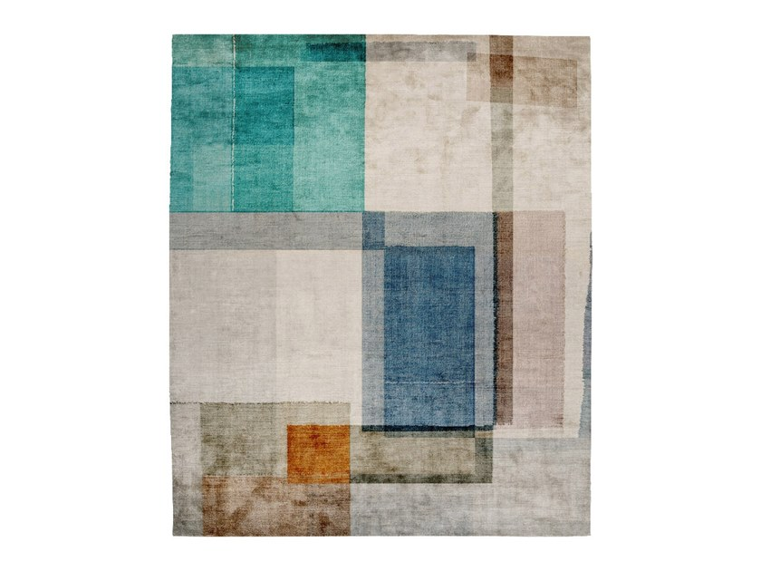 Handmade rectangular silk rug P07 IN COMMON (EXCELSIOR LOWE EDIT) by HENZEL STUDIO