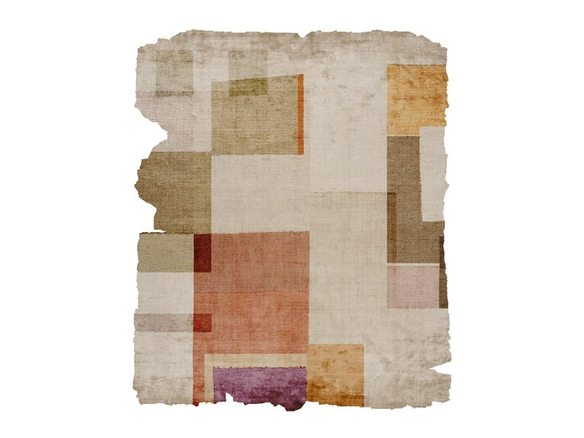 Handmade silk rug P109 BOTANIC (KARMA EDIT) RAW ICE CUT by HENZEL STUDIO
