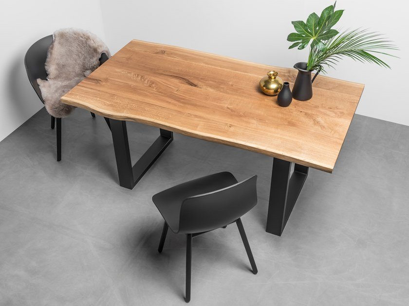 Natural edge table made of solid oak and steel PABLO by Hoom