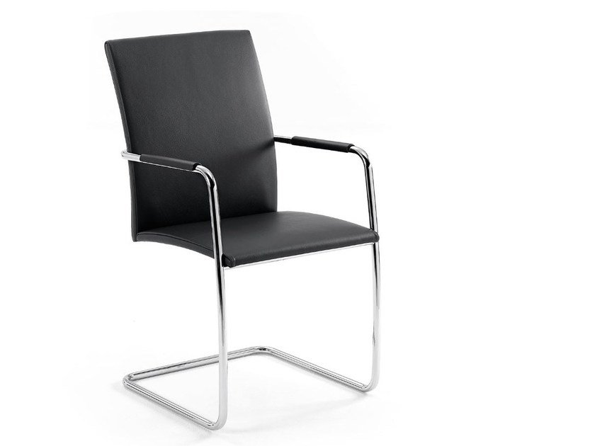 Cantilever stackable chair with armrests .PABLO by Spiegels