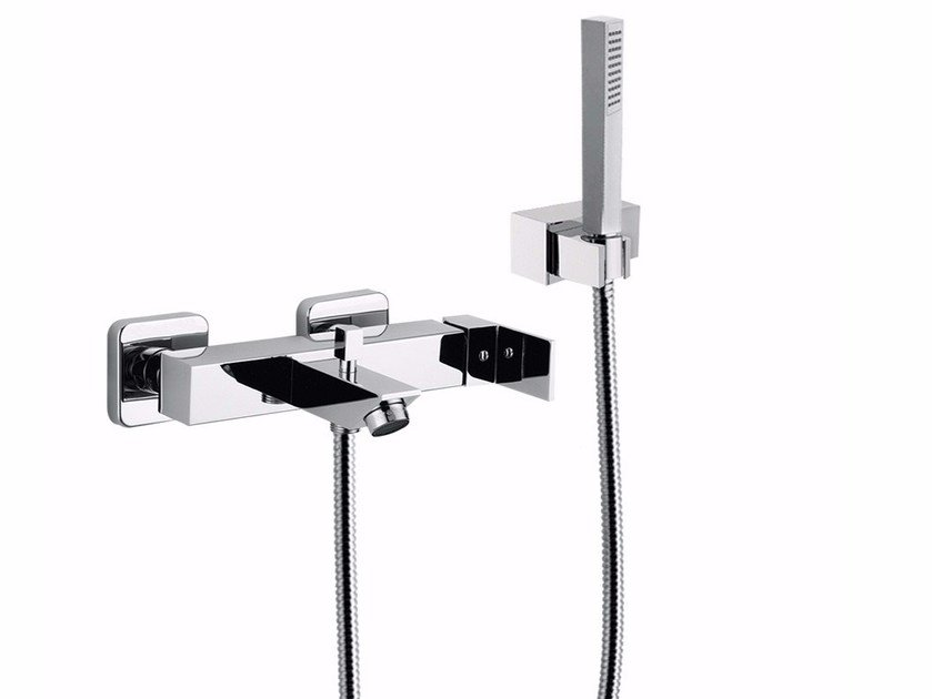 2 hole wall-mounted bathtub mixer with hand shower PABLOLUX - F9801-12 by Rubinetteria Giulini