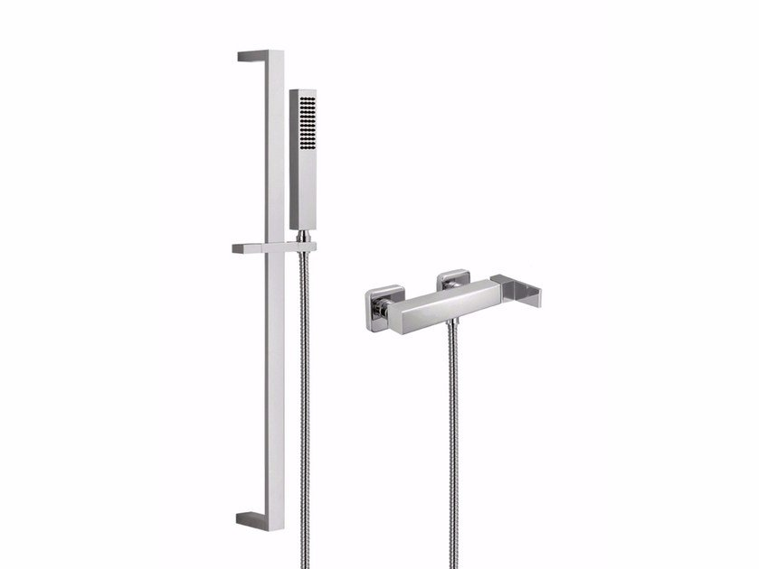 Single handle shower mixer with hand shower PABLOLUX - F9808-12WSQ by Rubinetteria Giulini
