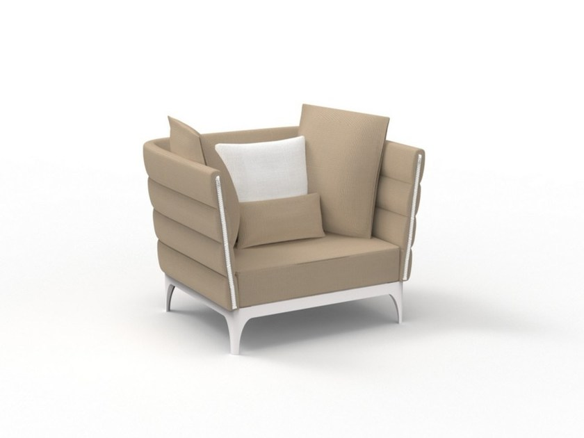 Upholstered garden armchair with armrests PAD | Garden armchair by Talenti