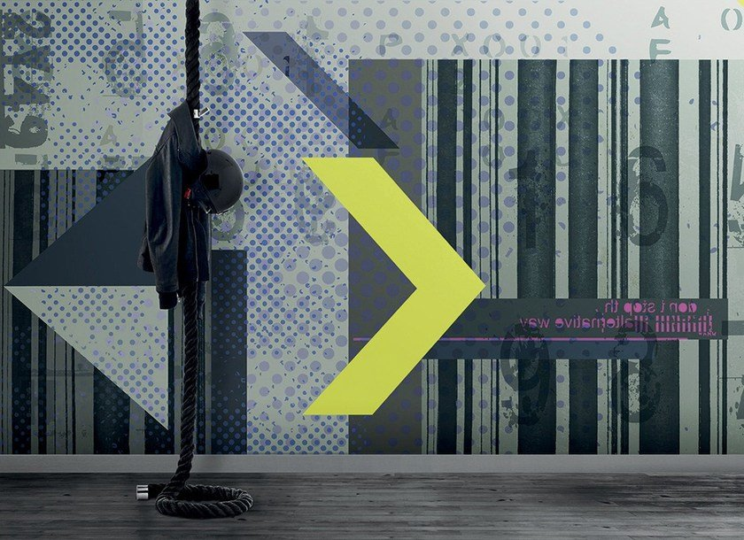 Contemporary style striped geometric washable synthetic material wallpaper PAESAGGIO CUBYSTA by N.O.W.  Edizioni