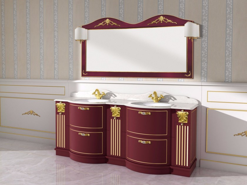 Double vanity unit with drawers with mirror PAESTUM CM24DC by LA BUSSOLA