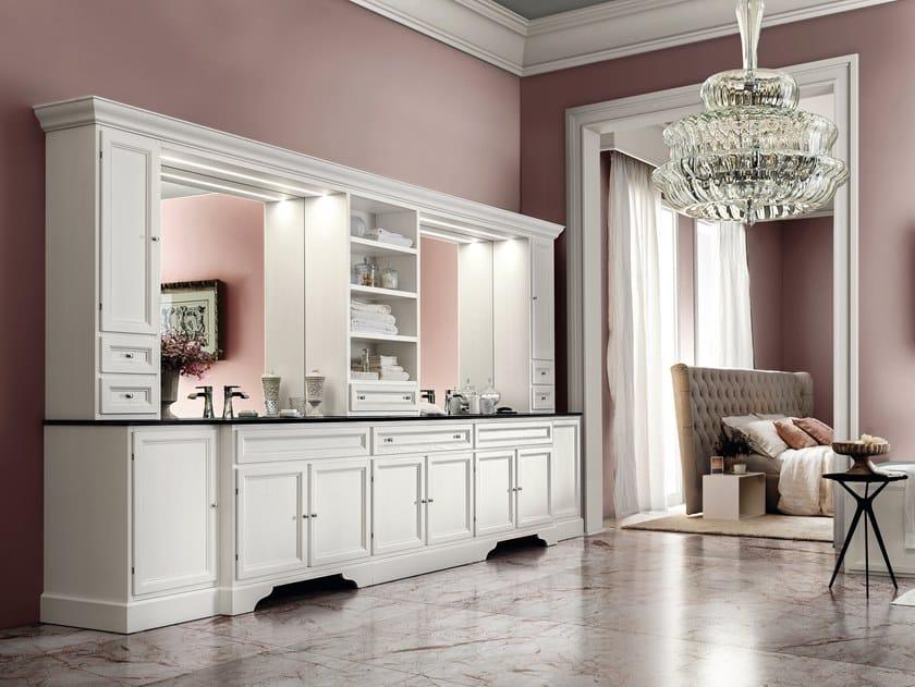 Wooden vanity unit with doors with mirror PAESTUM 20/21 by Cerasa