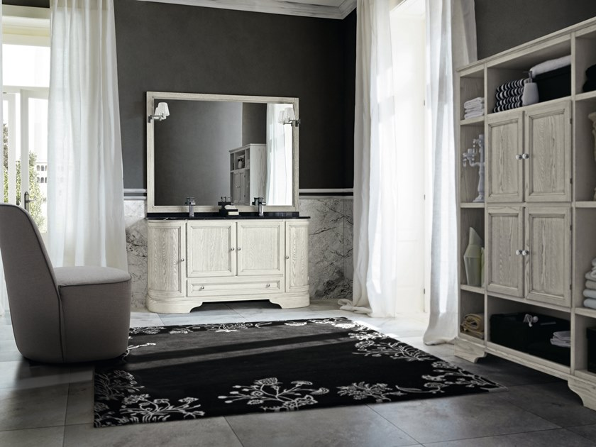 Double wooden vanity unit with doors with mirror PAESTUM 36 by Cerasa