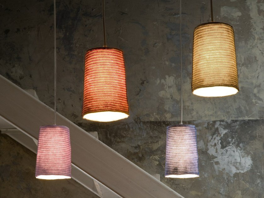 Wool pendant lamp PAINT STRIPE by In-es.artdesign