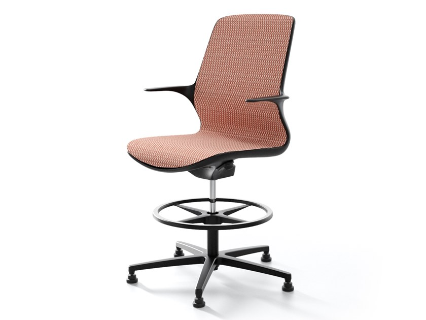 Height-adjustable office stool with Armrests PALLADIO by IBEBI