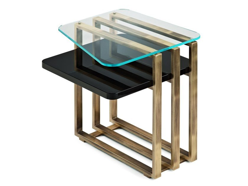 Lacquered square wooden coffee table PALM | Coffee table by MARIONI