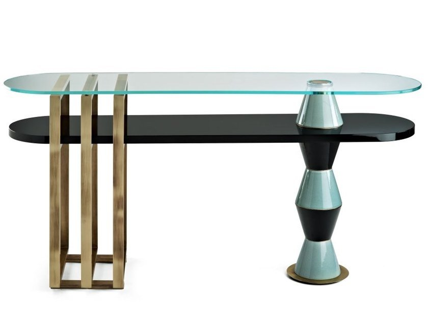 Lacquered oval wooden console table PALM | Console table by MARIONI