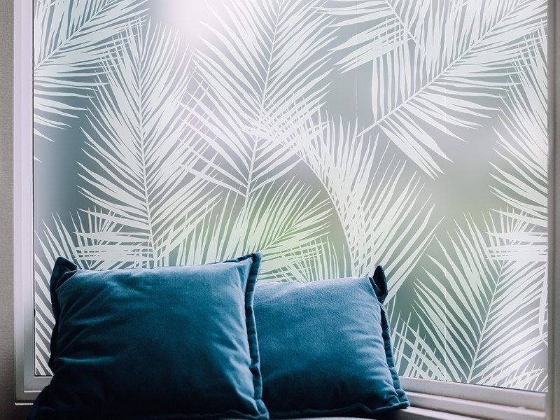Adhesive decorative window film PALM LEAVES by ACTE-DECO